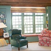 Bookcases with window seat, built-in: painted finish.