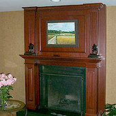 Fireplace Surround, built-in: granite, stained cherry.