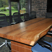 Conference Table, freestanding: natural white oak solid plank top, base: natural