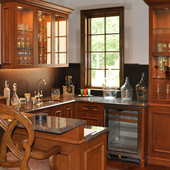 Bar with Display Cabinets, built-in: granite, glass, stained maple.