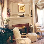 Fireplace Surround and Coffered Ceiling, built-in: antique painted finish.