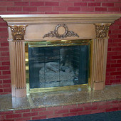 Fireplace Surround, built-in: maple with antiqued effect.