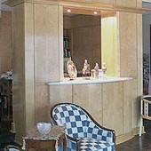 TV/Display Cabinet, built-in: marble, stained birdseye maple and maple with bowe