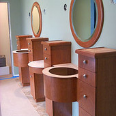 Vanities and Mirrors, built-in: mirror, stained cherry.