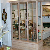 Display Case/Room Divider, built-in: glass, antique painted effect.