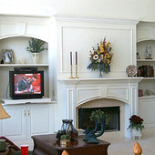 Entertainment Center with Fireplace Surround, built-in: painted finish.