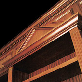 Bookcase (detail), built-in: stained mahogany and ribbon stripe mahogany.